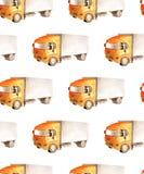 Naadloos patroonvervoer en logistisch van vrachtwagenvrachtwagen met oranje cabine en grijze carrosserie stock illustratie