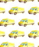 Naadloos patroonvervoer en logistisch van waterverf gele van truck met grijze die wielen op witte achtergrond wordt geïsoleerd vector illustratie