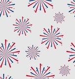 Naadloos Patroonvuurwerk voor Onafhankelijkheidsdag van de V.S., Behang Royalty-vrije Stock Foto's