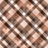 Naadloos plaidgeruit schots wollen stof Het bruine beige, checken, naadloos patroon, beige, geruite achtergrond, textiel, stof, t Stock Afbeelding