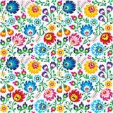 Naadloos Pools volkskunst bloemenpatroon - wzory lowickie, wycinanki Stock Afbeelding