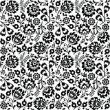Naadloos Pools volkskunst zwart bloemenpatroon - wzory lowickie, wycinanki Royalty-vrije Stock Foto