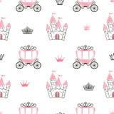 Naadloos prinsespatroon met kastelen, kronen en vervoer vector illustratie