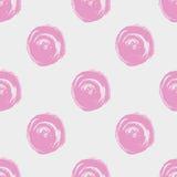 naadloos puntpatroon Hand geschilderde cirkels met ruwe randen De droge illustratie van de borstelinkt royalty-vrije stock afbeeldingen