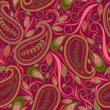 Naadloos purper patroon met Paisley en wervelingen Vector af:drukken Royalty-vrije Stock Foto
