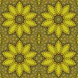 Naadloos regelmatig bloesems geel bruin blauw royalty-vrije illustratie