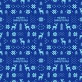Naadloos retro blauw Kerstmispatroon met deers, bomen en sneeuwvlokken Royalty-vrije Stock Foto