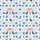Naadloos retro blauw Kerstmispatroon met deers, bomen en sneeuwvlokken Royalty-vrije Stock Foto's
