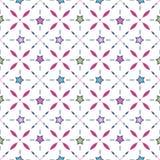 Naadloos retro patroon met sterren en geometrische elementen backg Stock Foto