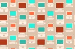 Naadloos retro patroon met vlakke laptops en computers royalty-vrije illustratie