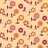 Naadloos retro patroon van verschillende gekleurde de zomerbloemen Stock Foto's