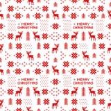 Naadloos retro rood Kerstmispatroon met deers, bomen en sneeuwvlokken Royalty-vrije Stock Afbeelding