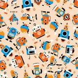 Naadloos robotpatroon Stock Afbeeldingen