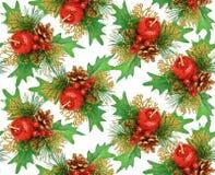 Naadloos rood Kerstmisornament -, groen, goud Royalty-vrije Stock Afbeelding
