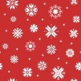Naadloos rood Kerstmispatroon met sneeuwvlokken vector illustratie