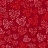 Naadloos rood patroon met harten vector illustratie