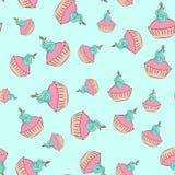 Naadloos room cupcake patroon met blauwe achtergrond royalty-vrije illustratie