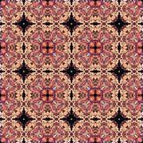 Naadloos roosterpatroon in oosters psychedelisch het mozaïekpatroon van de stijlbloem voor behang, achtergronden, decor voor tapi vector illustratie