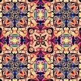Naadloos roosterpatroon in oosters psychedelisch het mozaïekpatroon van de stijlbloem voor behang, achtergronden, decor voor tapi royalty-vrije illustratie