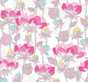 Naadloos roze patroon met bloemen Stock Afbeeldingen
