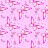 Naadloos roze patroon met butteflies Regelmatige achtergrond Gelukkige Pasen stock illustratie