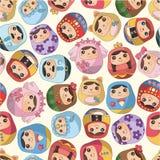 Naadloos Russisch poppenpatroon Stock Foto