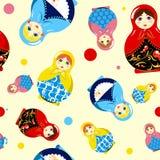 Naadloos Russisch poppenpatroon Stock Fotografie