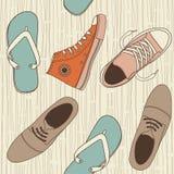 Naadloos schoenenpatroon in vector Stock Afbeelding