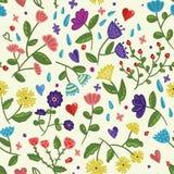 Naadloos schoonheids bloemen vectorpatroon op lichte achtergrond in beeldverhaalstijl Royalty-vrije Stock Foto's
