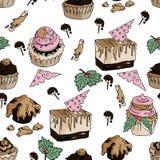 Naadloos smakelijk patroon met yummy cakes in vector vector illustratie