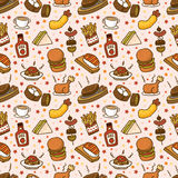 Naadloos snel voedselpatroon Royalty-vrije Stock Foto's