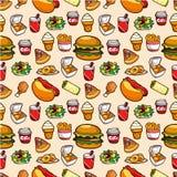 Naadloos snel voedselpatroon Stock Foto