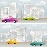 Naadloos stedelijk gezicht met kleurrijke auto's Royalty-vrije Stock Afbeelding