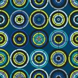 Naadloos stoffenpatroon die cirkels in heldere kleuren gebruiken Stock Foto