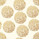 Naadloos tatoegeringspatroon De gouden vectortextuur van krabbelcirkels, abstracte illustratie stock illustratie