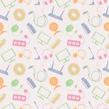Naadloos technologie vectorpatroon, chaotische achtergrond met kleurrijke pictogrammen van PC, monitor, hoofdtelefoons, schijf, r Royalty-vrije Stock Fotografie