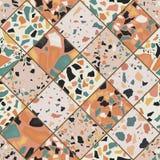 Naadloos terrazzopatroon Bewerkte hand en uniek patroon die achtergrond herhalen Graniet geweven vormen in trillend Royalty-vrije Stock Foto's