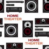 Naadloos textielpatroon met de vlakke vector van het huistheater Royalty-vrije Stock Foto