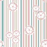 Naadloos textuurpatroon met bloemen op een gestreepte achtergrond Stock Foto