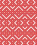 Naadloos traditioneel Russisch Slavisch dwars-stith-kruisornament in rood en wit vector illustratie