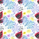 Naadloos tropisch patroon Blauwe, rode en gele bloemen en bladeren op witte achtergrond stock fotografie