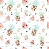 Naadloos tropisch patroon met ananas, watermeloen, aardbei Vector de zomerillustratie van een flamingo voor jonge geitjes, textie stock illustratie