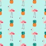 Naadloos tropisch patroon met flamingo's, ananassen Royalty-vrije Stock Afbeeldingen