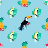 Naadloos tropisch patroon met papegaaien, ananassen en toekan Stock Afbeeldingen