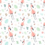 Naadloos tropisch patroon met roze flamingo's, kroon, bladeren, cactussen, monstera Vector de zomer hand-drawn illustratie van ee vector illustratie