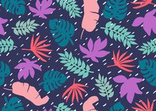 Naadloos tropisch patroon Tropische installaties en palmbladen in koraal, wintertaling en blauwe kleuren Bloemen achtergrond Mani vector illustratie