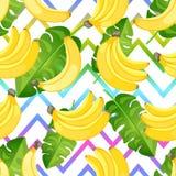 Naadloos tropisch patroon van gele banaan op abstracte zigzagachtergrond De vlakke tak van stijlbananen vector illustratie