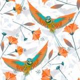 Naadloos tropisch patroon Vogels van Paradise op een lichte achtergrond stock fotografie