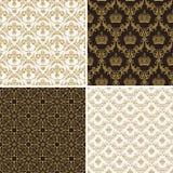 Naadloos uitstekend bloemen gouden en zwart patroon als achtergrond Stock Foto
