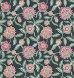 Naadloos uitstekend bloemenbloempatroon stock illustratie